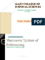 Vancouver Systemof Referencing