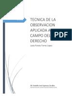 TECNICA DE LA OBSERVACION APLICADA AL COMPO DEL DERECHO