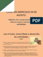 CLASE DÍA MIÉRCOLES 04 DE AGOSTO