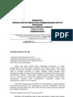 Pendapat Fraksi PPP atas KEIMIGRASIAN Rapat Kerja Komisi III 27-4-10