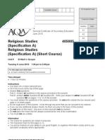 Religious Studies - Past Paper 2010