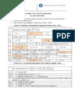 Test Inițial, Clasa a IX-A  Matematică, 2020-2021