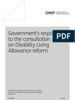 Government's response to the consultation on Disability Living Allowance reform