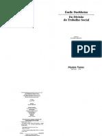 Da divisão social do trabalho - Durkheim