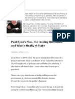 Paul Ryan's Plan, the Coming Shutdown, and What's Really at Stake