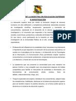 Espectativas de La Maestria en Educacion Superior e Investigación