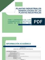 Tema 1 - Presentacion Curso, Generalidades de La Planta Industrial, Estudio Mercado, Diseño Del Producto