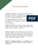 CLASIFICACIÓN DE LA QUÍMICA