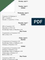 Sports Schedule April 4-9