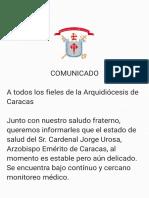 Comunicado Arquidiócesis de Caracas 11/09/2021