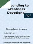 Responding to Greatness (Devotional)