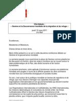 Genève et la Gouvernance mondiale de la Migration et du Refuge