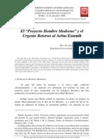 El Proyecto Hombre Moderno y el Urgente Retorno al Actus Essendi