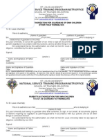 PARENTS ORGUARDIANS AUTHORIZATION FORM FOR NSTP 1&2 SUMMER 2011