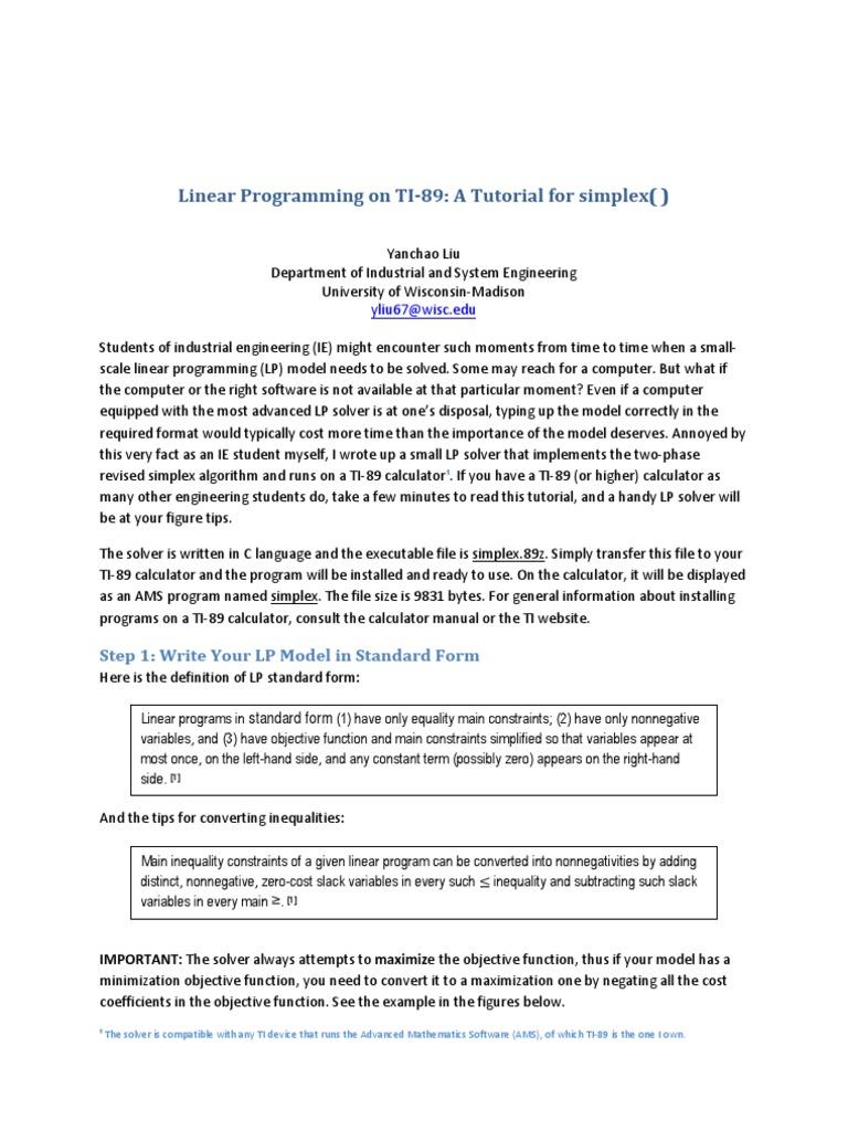 Linear Programming On Ti 89 Linear Programming Calculator