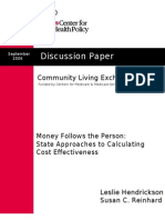 Nursing Home Transition (NHT) cost effectiveness 2008
