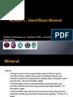 ACARA 1 . Mineral Identification