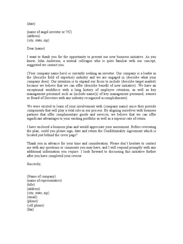 sample cover letter for angel investors
