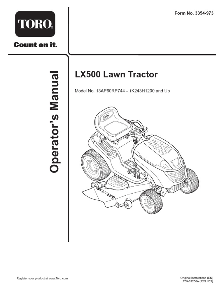 LX500 Lawn Tractor: Model No. 13AP60RP744 K243H1200 and Up