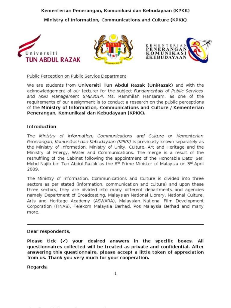 Kementerian Penerangan Komunikasi Dan Kebudayaan Questionnaire Malaysia Public Sphere