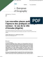 Les nouvelles places publiques à l'épreuve des pratiques et usages sociaux le cas de la ville d'Annaba (Algérie)