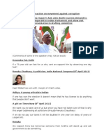Comments on Anna Hazare's movement for Lokpal Bill against corruption in India