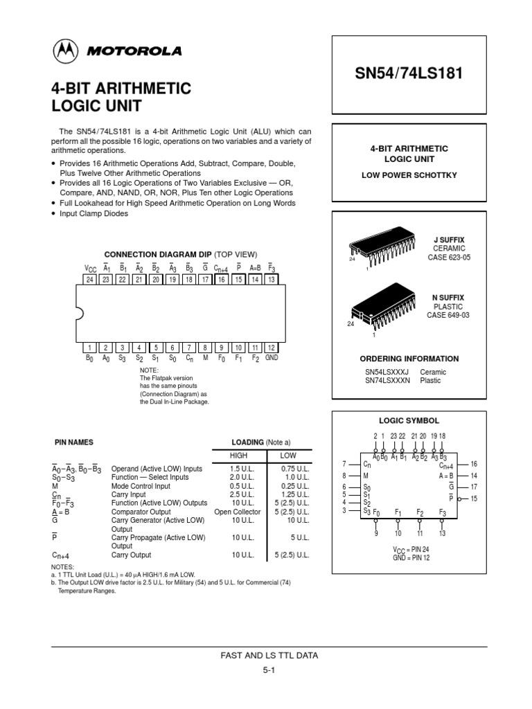 74181 Electronic Design Engineering Arithmetic Logic Unit Diagram