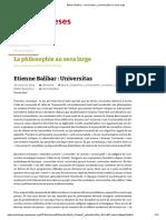 Balibar _ Universitas _ La philosophie au sens large
