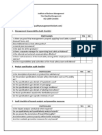 ISO 22000 Checklist Questionnaire for National