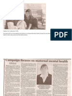 Campaign focuses on maternal mental health (Saskatoon Sun, April 3, 2011)