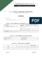 MSDS acetona