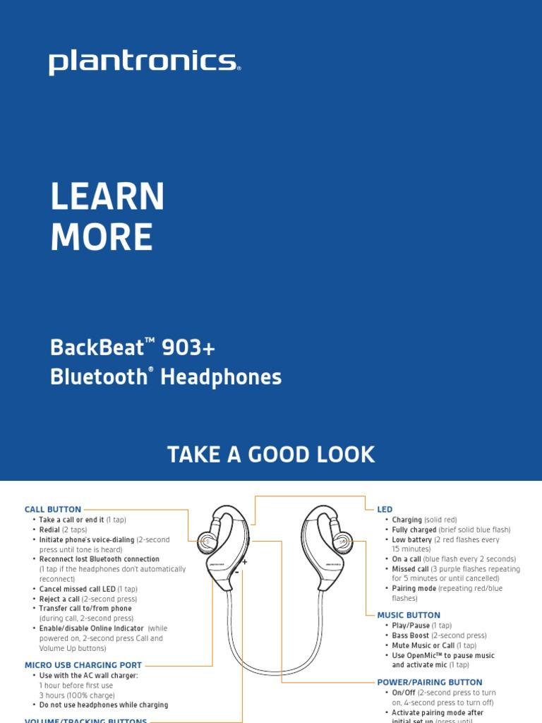 Plantronics backbeat 903+ mobile headset user guide.