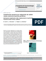 Complicación mecánica por malposición de catéter