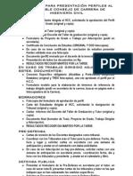 Requisitos para la presentacion de perfiles
