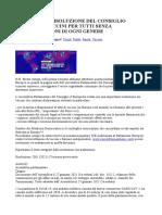 IMPORTANTE RISOLUZIONE DEL CONSIGLIO D