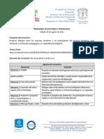Agenda-Seminario Educaciones y Pedagogías
