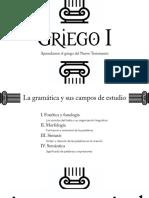 Griego I Adjetivos, pronombres, conjunciones, vebro εἰμί