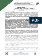 COMUNICADO NO.9 JUNTA DIRECTIVA NACIONAL ANEBRE