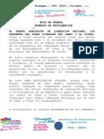 Nota de Prensa Congresos de Proclamacion