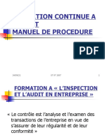 Formation Continue a l'Audit-manuel de Procedure Et l'Inspection Et l'Audit en Entreprise
