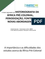 AS FONTES DA HISTÓRIA DE ÁFRICA