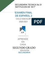 EXAMEN SEGUNDO GRADO