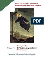 18 de Septiembre. San Jose de Cupertino, confesor. Propio y Ordinario de la Santa Misa