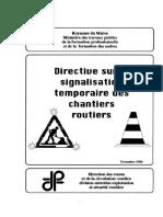 Directive Drcr Signalisation Temporaire Des Cahntiers Routiers