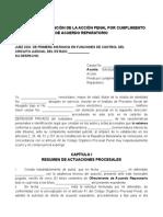 SOLICITUD DE EXTINCIÓN DE LA ACCIÓN PENAL POR CUMPLIMIENTO DE ACUERDO REPARATORIO