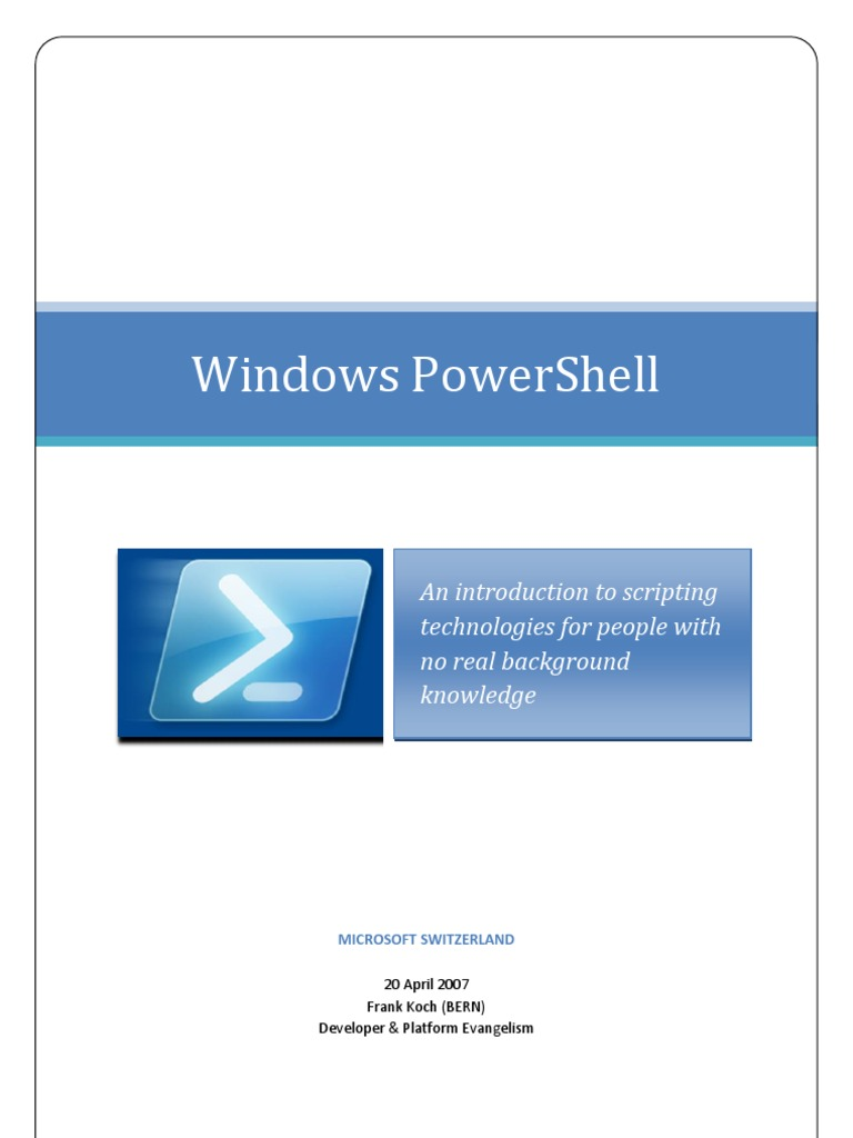 Powershell Tutorial Pdf | Examples and Forms