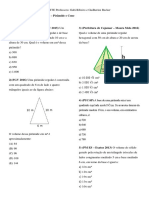 Lista 21 - Geometria Espacial - Pirâmide e Cone