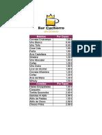 Lista de Precio Bar