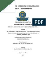Relación Entre El Clima Organizacional y La Satisfacción Laboral de Los Trabajadores de La Empresa Betoscar Servis Eirl de La Ciudad de Cajamarca - 2016