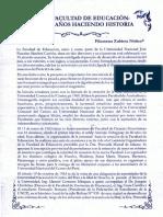 Historia de la Facultad de Educacion - UNJFSC